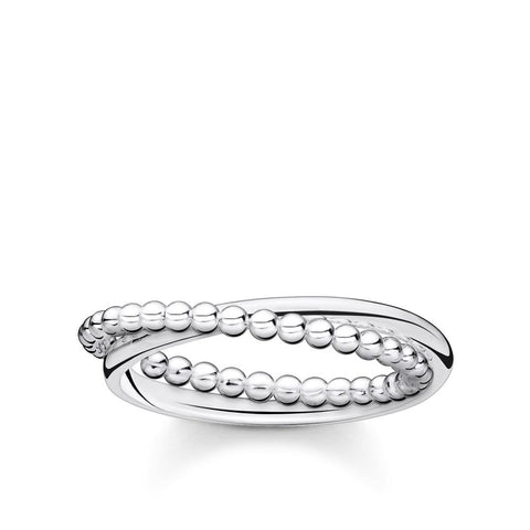 Thomas Sabo Beaded Cross Over Ring - Silver