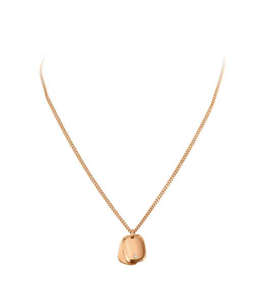 DYRBERG/KERN TUERA MATT ROSE GOLD CRYSTAL METAL NECKLACE