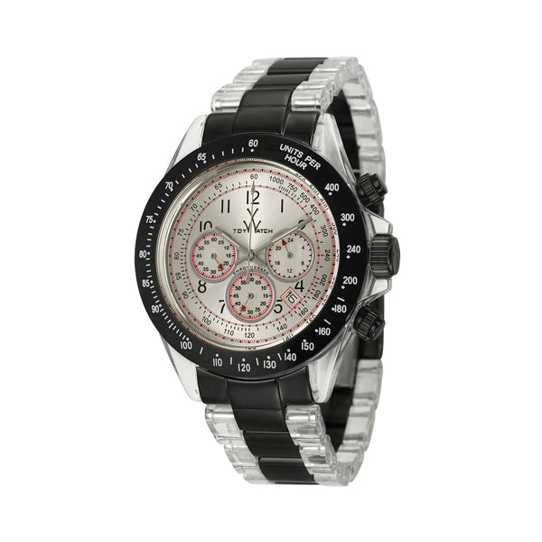 TOYWATCH - BLACK & CLEAR PLASTIC HEAVY METAL TACHYMETER WATCH