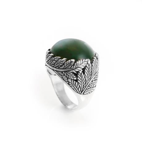 Nick Von K Twin Fern Ring with Pounamu - Size R