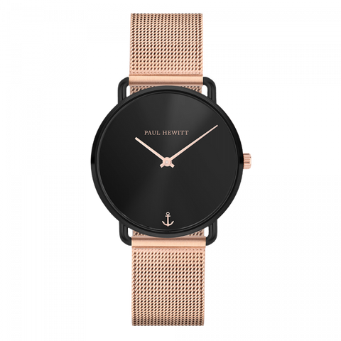 Paul Hewitt Watch Miss Ocean Line Black Sunray Mesh Strap IP Rose Gold