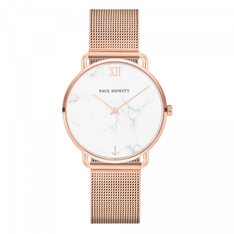 Paul Hewitt Watch Miss Ocean Line Marble IP Rose Gold Mesh Strap IP Rose Gold