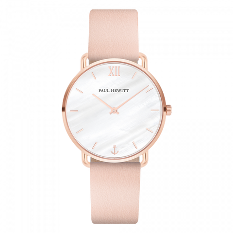 Paul Hewitt Watch Miss Ocean Line Pearl IP Rose Gold Leather Watch Strap Nude