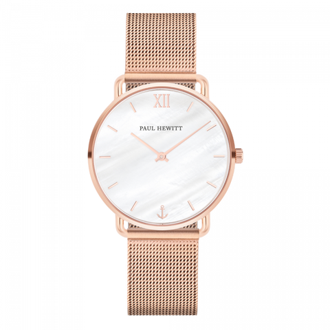 Paul Hewitt Watch Miss Ocean Line Pearl IP Rose Gold Mesh Strap IP Rose Gold