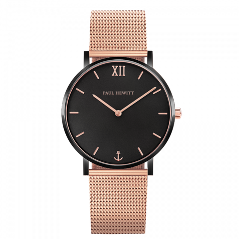 Paul Hewitt Watch Sailor Line Black Sunray IP Black / Rose Gold Mesh Strap IP Rose Gold