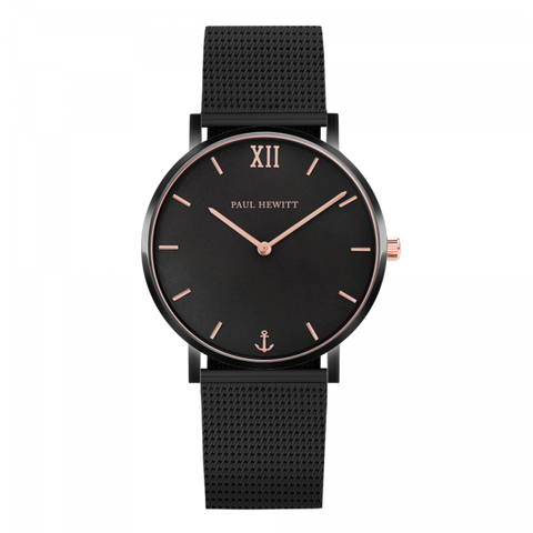 Paul Hewitt Watch Sailor Line Black Sunray IP Black / Rose Gold Mesh Strap IP Black