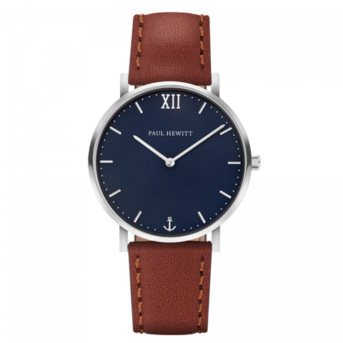 Paul Hewitt Watch Sailor Line Blue Lagoon Stainless Steel Leather Watch Strap Brown