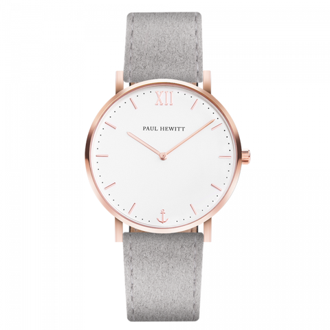 Paul Hewitt Watch Sailor Line White Sand IP Rose Gold Alcantara Grey