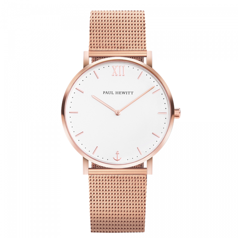 Paul Hewitt Watch Sailor Line White Sand IP Rose Gold Mesh Strap IP Rose Gold