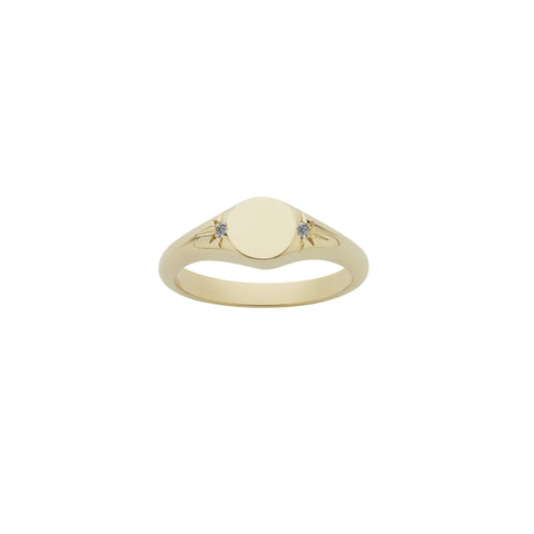 Meadowlark Classic Signet Ring - 9ct Yellow Gold & White Diamond