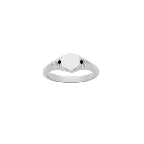 Meadowlark Classic Signet Ring - Sterling Silver & Black Diamond