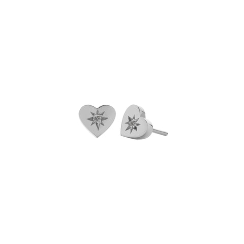 MEADOWLARK DIAMOND HEART STUD - STERLING SILVER & GREY DIAMOND