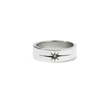 MEADOWLARK DIAMOND STAR BAND FLAT - STERLING SILVER & WHITE DIAMOND