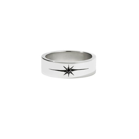 MEADOWLARK DIAMOND STAR BAND FLAT - STERLING SILVER & BLACK DIAMOND