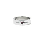 MEADOWLARK DIAMOND STAR BAND FLAT - STERLING SILVER & RUBY