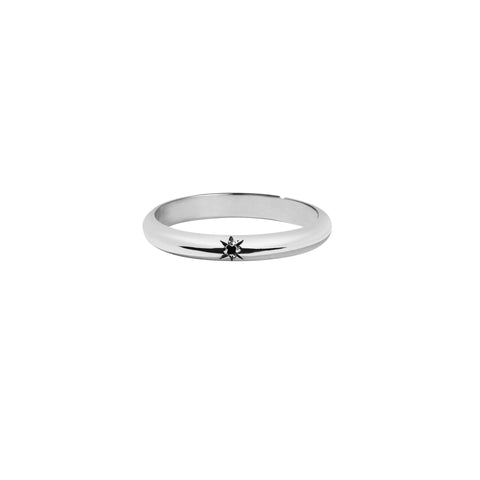 MEADOWLARK DIAMOND STAR BAND ROUND - STERLING SILVER & BLACK DIAMOND