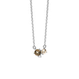 MEADOWLARK TRIO NECKLACE STERLING SILVER - SMOKEY QUARTZ, MORGANITE & WHITE DIAMOND