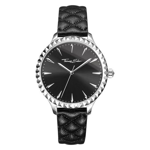 THOMAS SABO REBEL AT HEART LADIES PYRAMID BLACK LEATHER WATCH