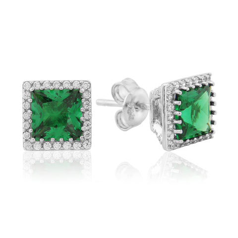Waterford Synthetic Emerald & CZ Set Earrings - WE193