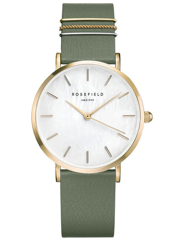 Rosefield Watch -  West Village Gold Green Leather Strap