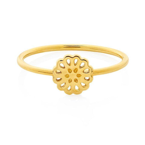 Boh Runga Lotus Ring - 9ct Yellow Gold, Size M