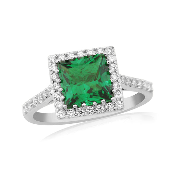 WATERFORD SYNTHETIC SQUARE EMERALD & CZ SET RING WR194 - SIZE LARGE