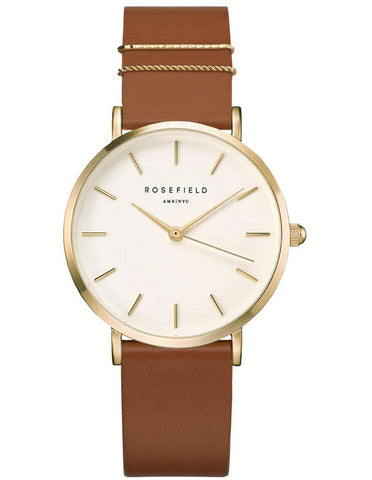 Rosefield Watch -  West Village Gold Tan Leather Strap