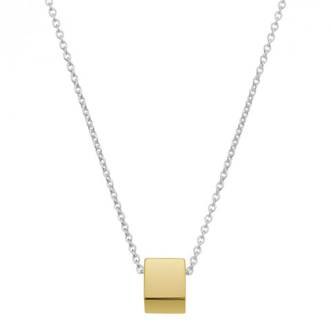 NAJO YELLOW GOLD PLATE CUBULAR NECKLACE