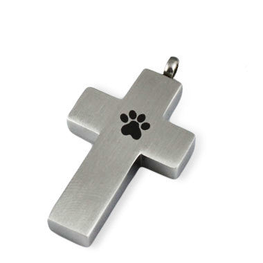 LIFE CYCLE CREMATION PENDANT - PAW PRINT CROSS