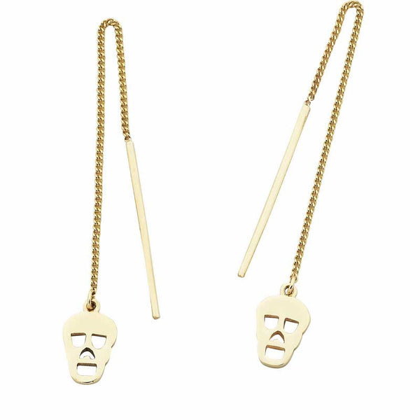 Karen Walker Mini Skull Thread Earrings - 9ct Gold