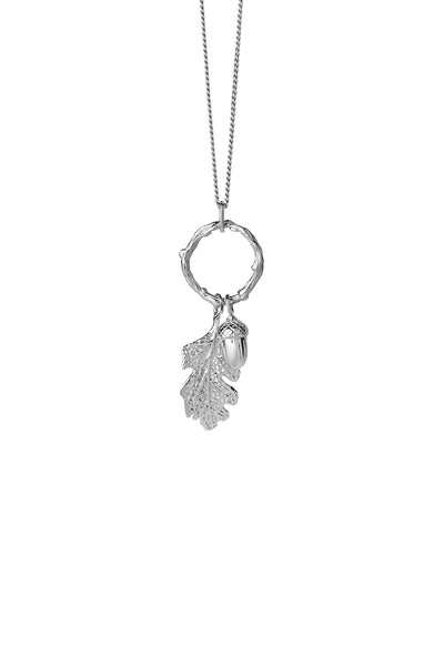 Karen Walker Acorn & Leaf Loop Necklace - Sterling Silver