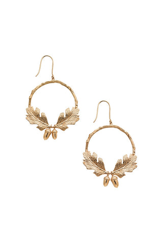 Karen Walker Acorn & Leaf Wreath Earrings - Hard Gold Plate