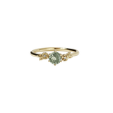 Meadowlark Alba Ring - 9ct Yellow Gold, Green Sapphire & White Diamond