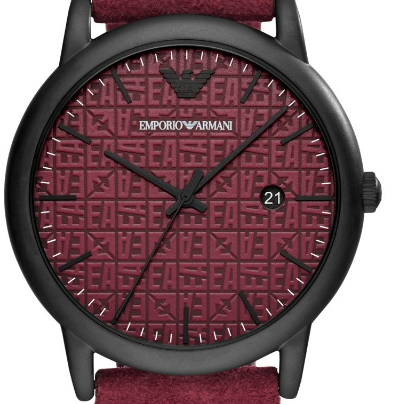 Emporio Armani -  Three-Hand Burgundy Leather Watch