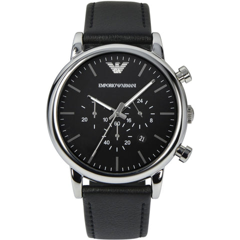 Emporio Armani Black Leather Black Dial Chronograph Mens Watch - AR1828
