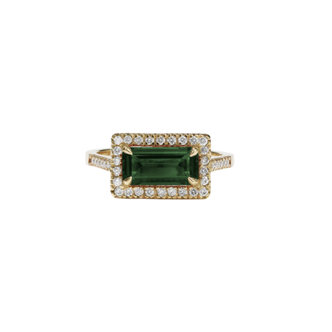 Meadowlark - Arizona Ring 9ct Yellow Gold - Green Tourmaline - White Diamond