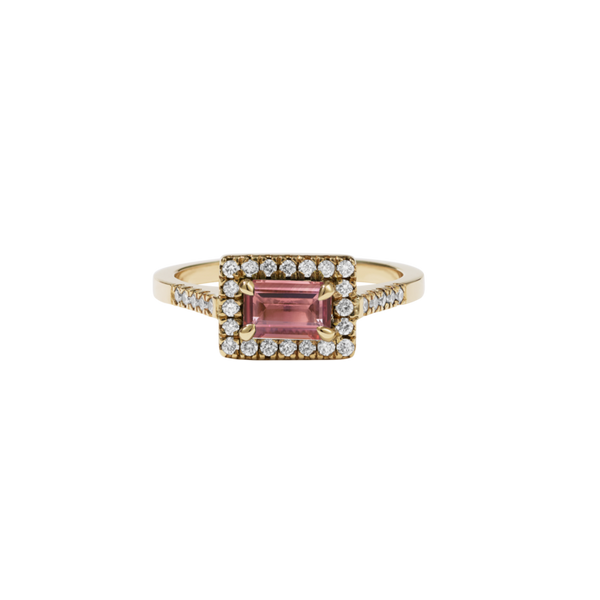 Meadowlark - Arizona Ring Petite - 9ct Yellow Gold - Pink Tourmaline - White Diamond