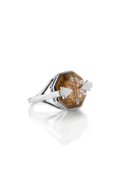 KAREN WALKER ASTRID RING RUTILATED QUARTZ SILVER