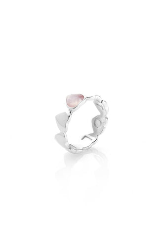 Stolen Band Of Hearts Ring Rose Quartz - Medium