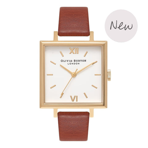 BIG SQUARE DIAL TAN & GOLD OB16SS20