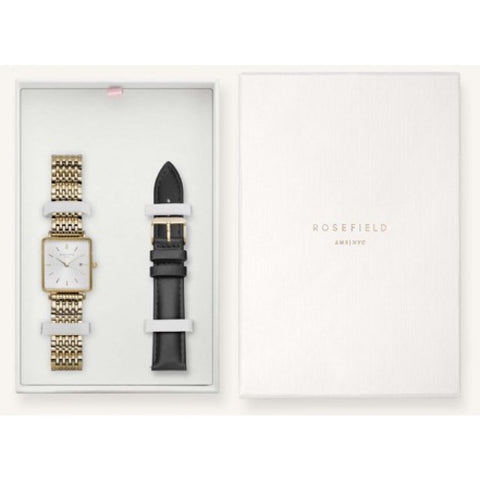 Rosefield Boxy White dial gold b/let & Blk leather strap box set