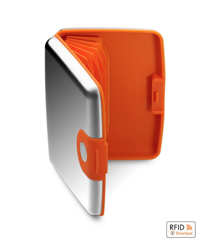 DALVEY SCOTLAND CREDIT CARD CASE ORANGE & STAINLESS STEEL