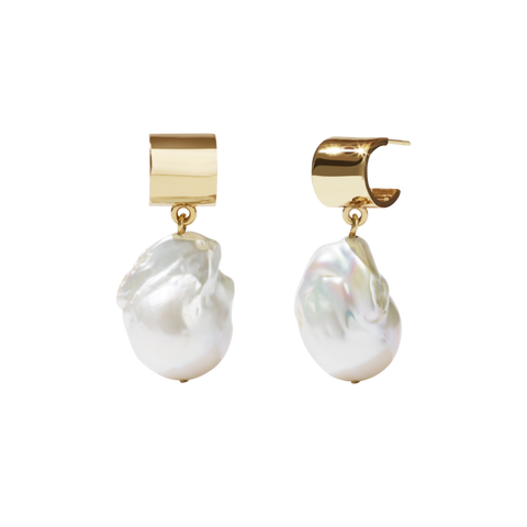 Medowlark - Halcyon - Cuff Pearl Drop Earrings 9ct & Gold Plate