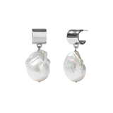 Meadowlark - Halcyon - Cuff Pearl Drop Earrings Sterling Silver