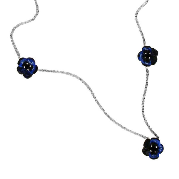 Karen Walker Pansy Necklace, Small Pansies -  Silver, Blue Enamel, Sapphire