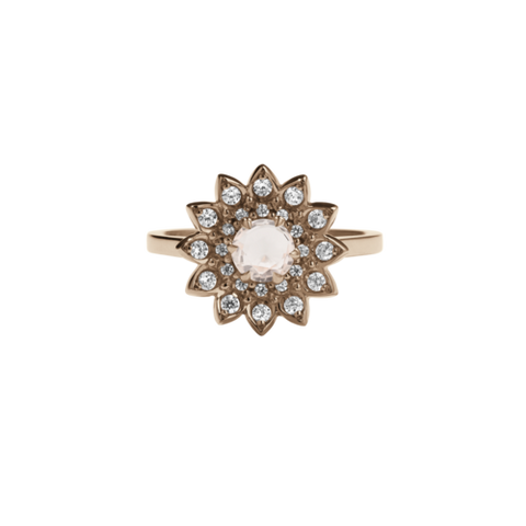 Meadowlark Dahila Engagement Ring - 9ct Rose Gold, Morganite & White Diamond