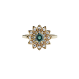 Meadowlark Dahlia Engagement Ring - 9ct Yellow Gold, Green Sapphire & White Diamond