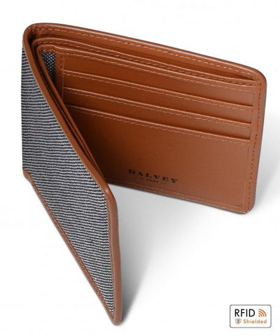 Dalvey Scotland Slim Bifold Wallet Tan & Grey Birdseye - 03356