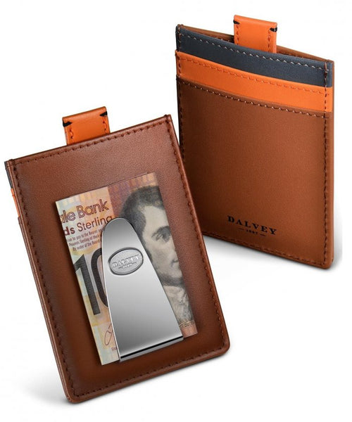 Dalvey Scotland Explorer Credit Card Money Clip Tan Leather With Grey & Orange - 03405
