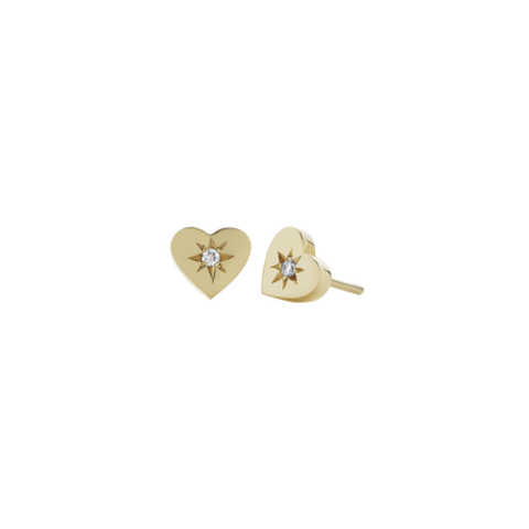 MEADOWLARK DIAMOND HEART STUD - 9CT YELLOW GOLD & WHITE DIAMOND